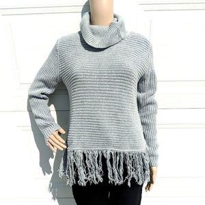 Michael Kors M sweater cowl neck fringe bottom